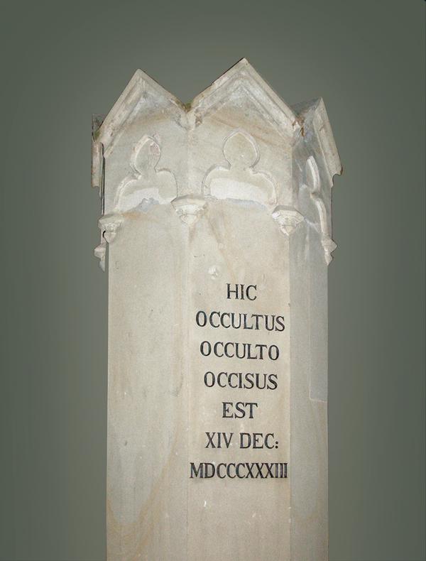 HIC OCCULTUS OCCULTO OCCISSUS EST K H