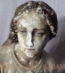 Restauration d'oeuvre d'art: sculpture en plâtre peint, visage avant - Repliqua 3D, sculpteur, artisan d'art