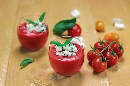 Gaspacho framboise poivron-tomate et son granité de Salakis