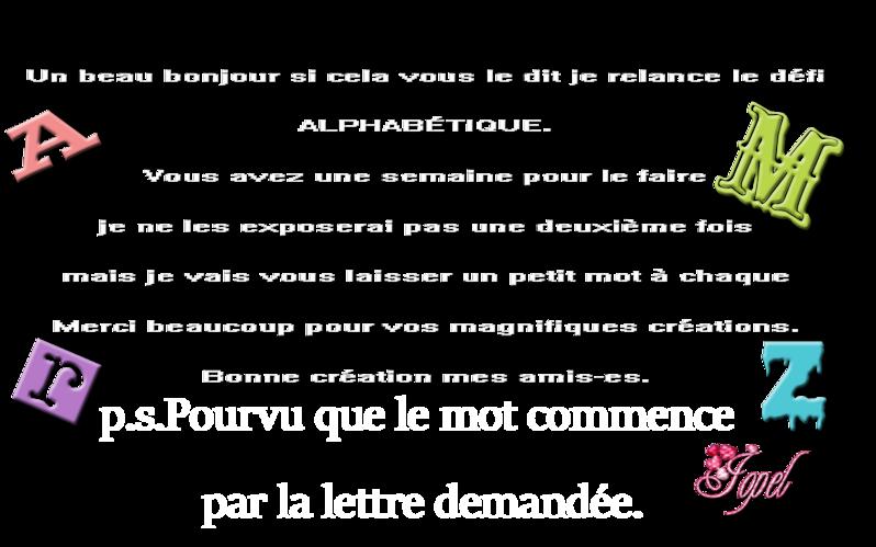 Suite Défi ALPHABÉTIQUE.par Jopel