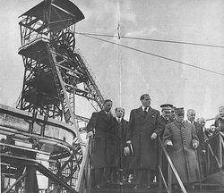 Le maréchal Pétain en visite au Puits Couriot en 1941