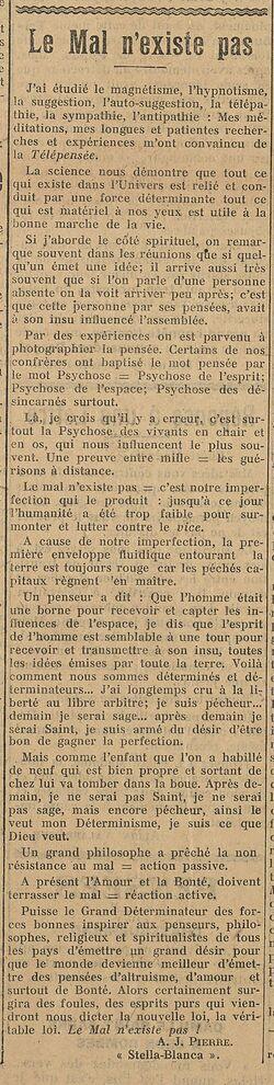 Le Mal n'existe pas (Le Biéniste, 1er mai 1922)