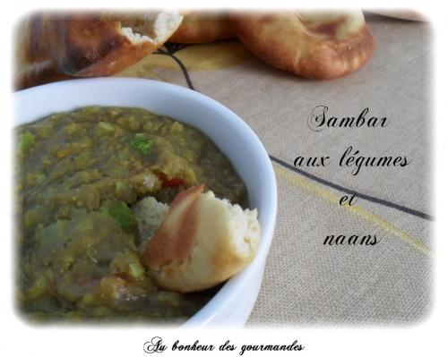 Naans et sambar aux légumes