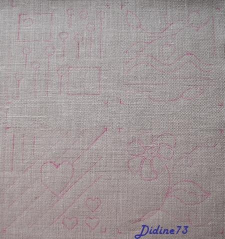 SAL mon cahier de broderie - feuillet 1 - page 1 - le traçage