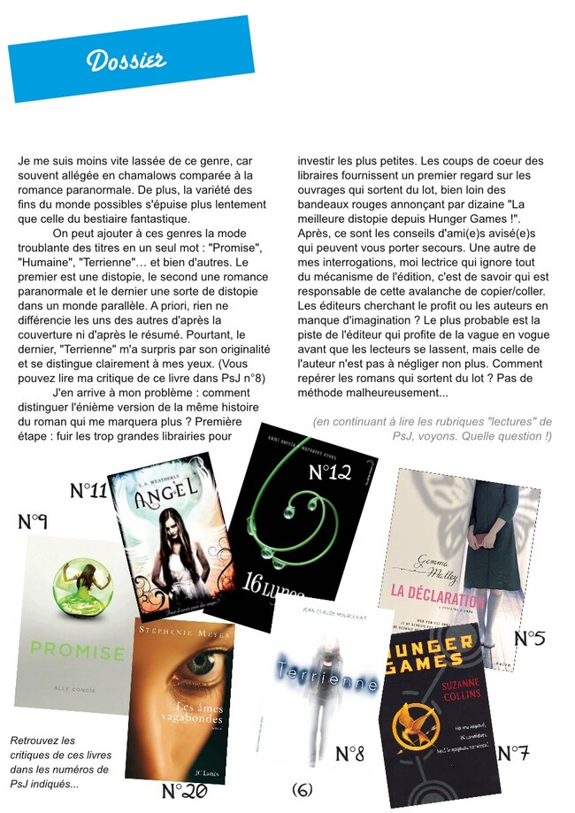 À quand un renouveau de la littérature pour ado ? - Dossier Psj 25