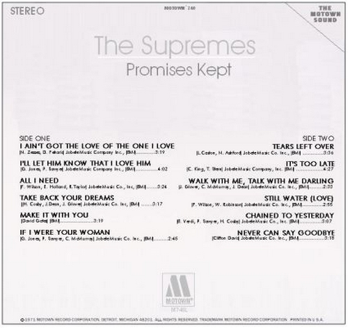 "The Supremes : Album "" Promises Kept [ Unissued ] "" Motown Records M 746L [ US ]"