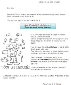 Lettre rencontre parents enseignants