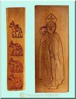 Cuisine créative: réalisation de biscuits pour les fêtes (Saint Nicolas, Noël,...) dans un moule artisanal - Arts et sculpture: sculpteur sur bois