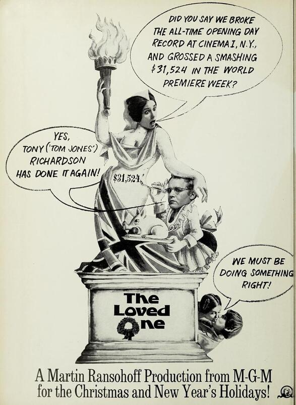 THE LOVED ONE BOX OFFICE USA 1965