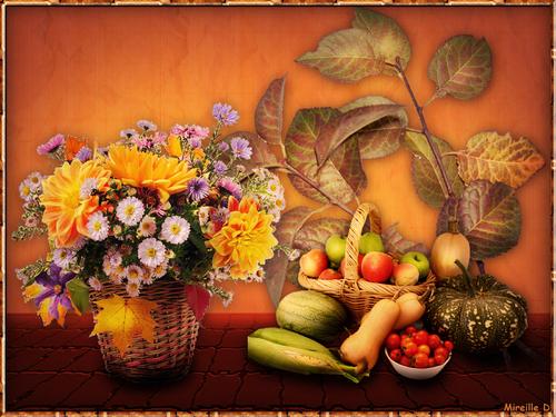 Montage Fleurs et Fruits d'Automne