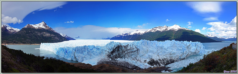 Le glacier et le pic Perito Moreno vus des passerelles - Peninsula de Magallanes  - Patagonie - Argentine