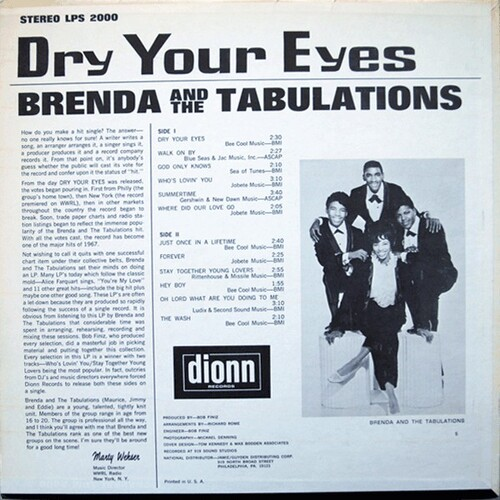 "Brenda & The Tabulations : Album "" Dry Your Eyes "" Dionn Records LPS 2000 [ US ]"