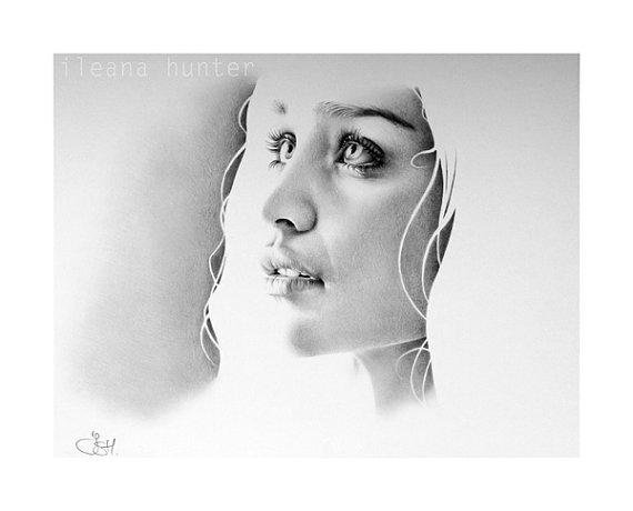 Emilia Clarke comme Daenerys Targaryen Fine Art Portrait dessin au crayon signé imprimer