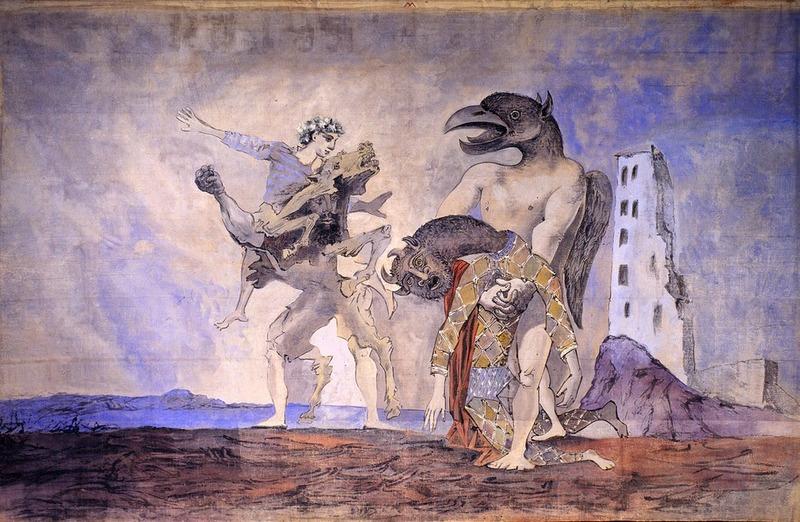 La dépouille du Minotaure en costume d'Arlequin