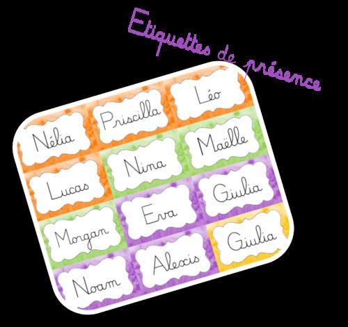 Etiquettes de présence