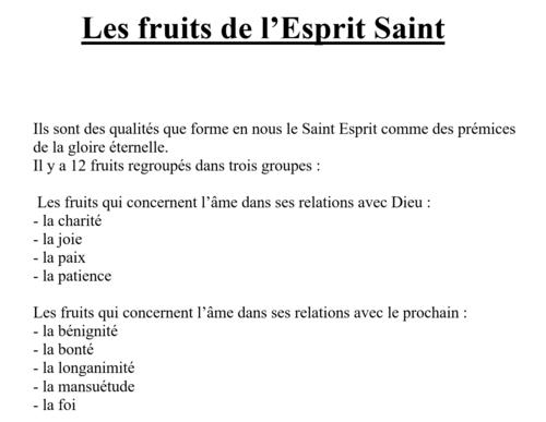 Les fruits de l'Esprit saint