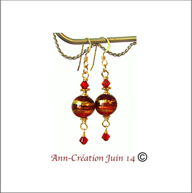 Boucles Verre de Murano authentique Rouge Feuille d'Or  24 Kt / Plaqué Or 14 kt Gold Filled