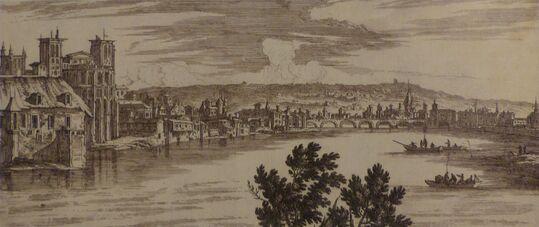 Gravure montrant un cours d'eau en premier plan, bordé par une cité en arrière plan.