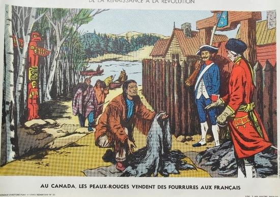 Au Canada les Peaux-Rouges vendent des fourrures aux français