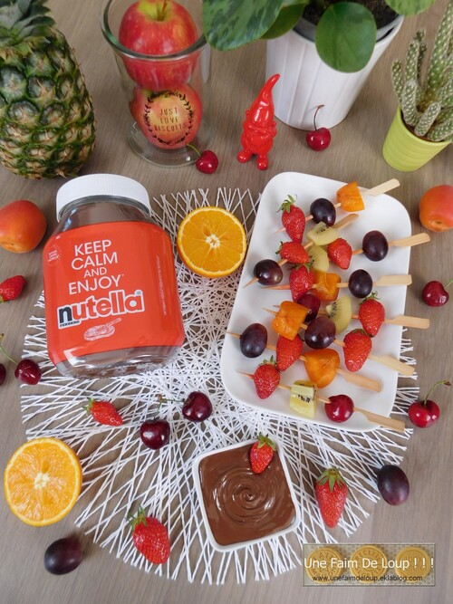 Brochettes de fruits au Nutella