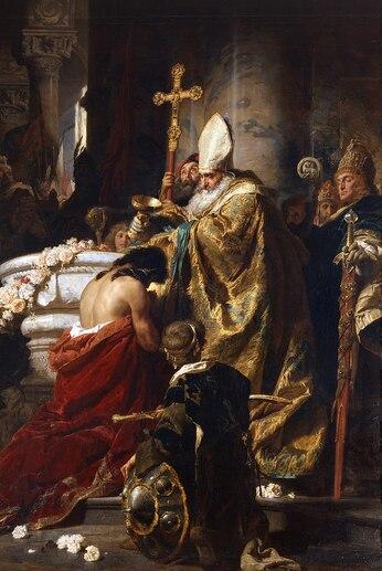 Peinture d'un évêque barbu versant une coupe d'eau sur la tête d'un homme dos nus, à genoux et priant
