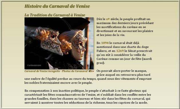** LE CARNAVAL de VENISE   n°2 ( SUITE & FIN)**