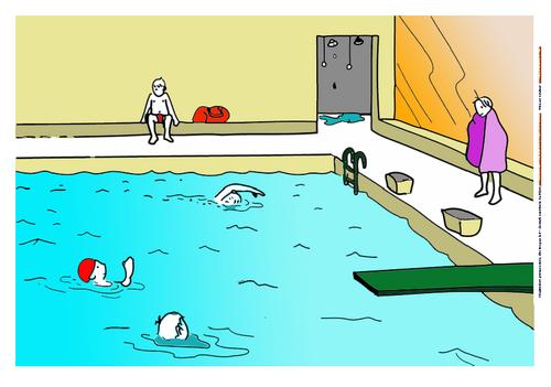 Grandes étiquettes thème piscine