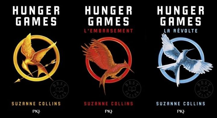 Couvertures poches d'Hunger Games.