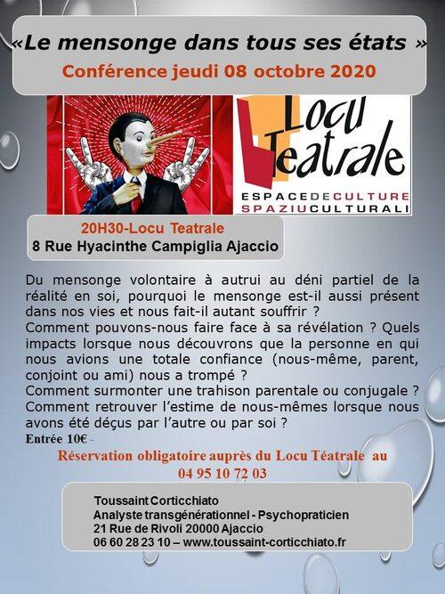 """8 octobre Conférence Toussaint Corticchiato """"Le mensonge dans tous ses états"""" 20h30."""