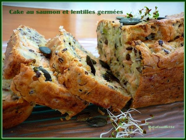 Cake au saumon et lentilles germées