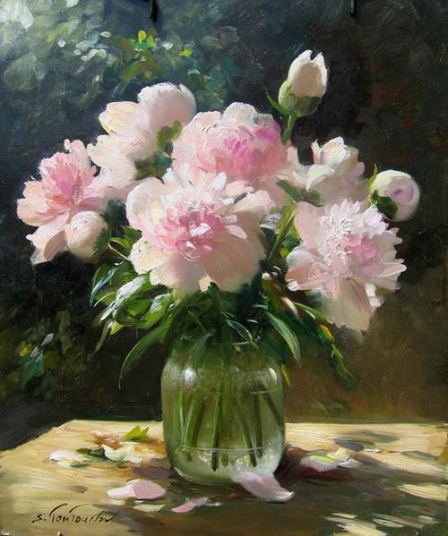 Le tableau du samedi - aujourd'hui on offre un bouquet pour la St Valentin...