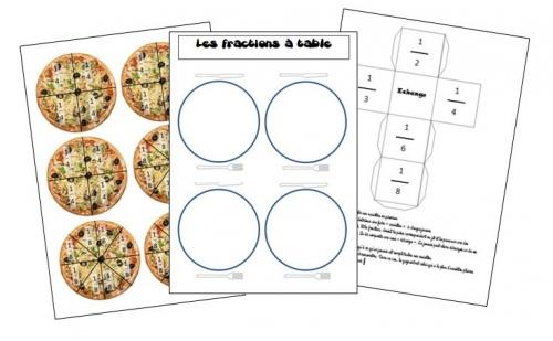 Jeu sur les fractions : les fractions à table!