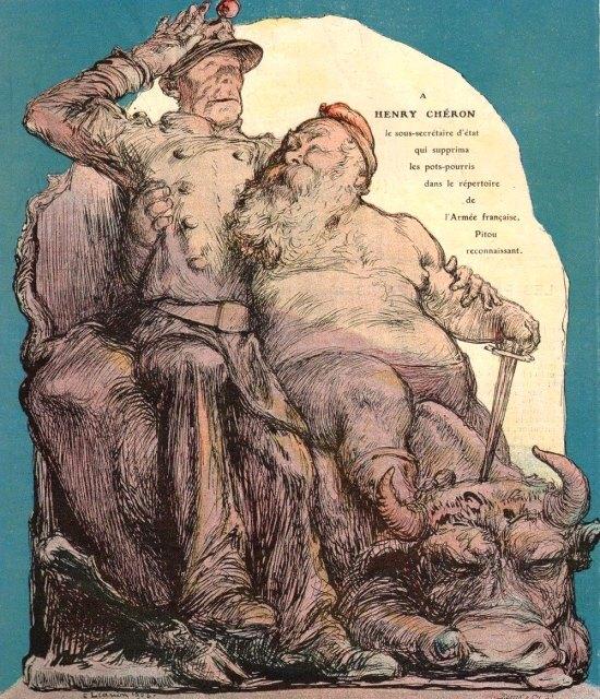 Caricature d'Henry Chéron, alors sous-secrétaire d'État à la guerre, par Léandre (parue dans Le Rire du 9 mai 1908)