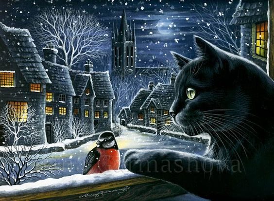 Black Cat Print Silent Night by Irina Garmashova | Etsy