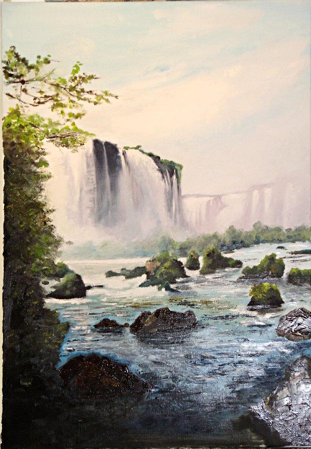 Peinture huile chute d'eau