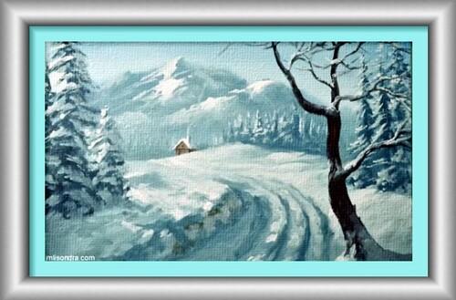 Dessin et peinture - video 2272 : Paysage à l'arrivée des premières  neiges.