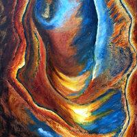 Aux portes de la terre - Huile sur bois -0,50 x 0,40