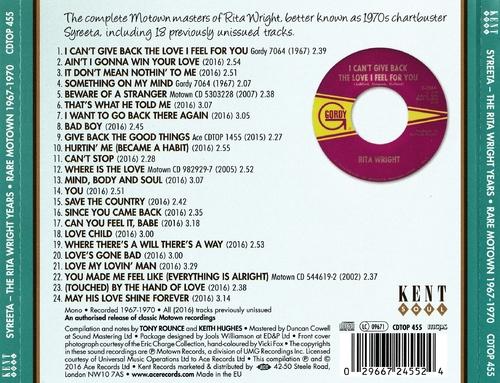 "Syreeta : CD "" The Rita Wright Years Rare Motown 1967-1970 "" Kent Soul Records CDTOP 455 [ UK ] le 30 Septembre 2016"
