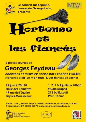 """Nouvelle pièce 2015 : """"Hortense et les fiancés"""""""