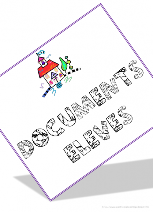 organisation : page de garde - cahier médiateur - classeur suivi - classeur documents