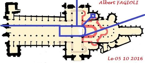 Les emplacements des souterrains et salles souterraines sous la cathédrale de Notre Dame de Rouen. (Albert Fagioli)