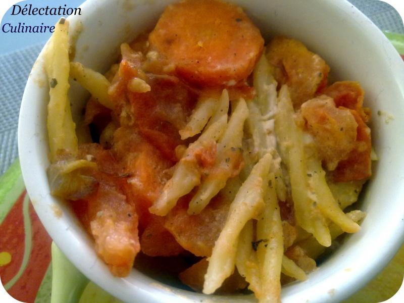 Risotto de pâtes à la vache qui rit, compotée de tomates et carottes