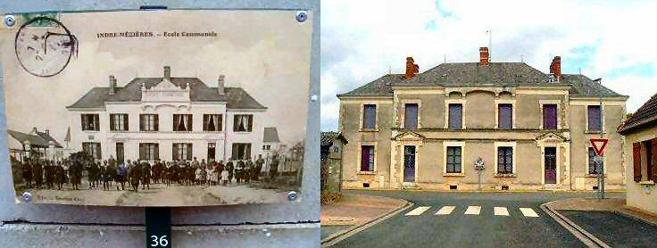 L'école de Mézières-en-Brenne, vers 1900 et aujourd'hui.