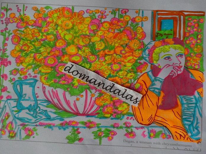 DOMANDALAS coloriage femme aux fleurs de Degas