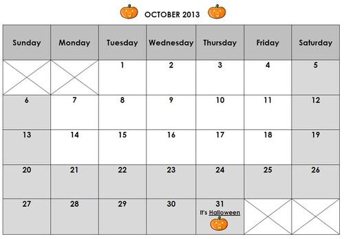 Calendrier October 2013