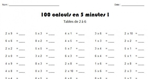 Défi 100 tables de multiplication