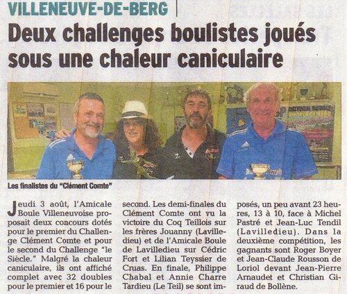 Challenge Clément Comte et le Siécle du jeudi 3 Aout 2017