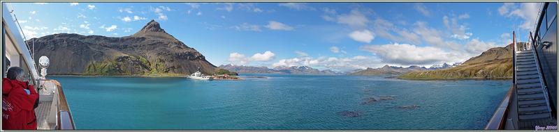 Panorama sur la base militaro-scientifique de King Edward Point et la Cumberland East Bay - Grytviken - Géorgie du Sud