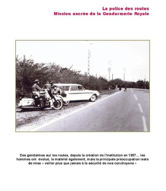 La police des routes Mission ancrée de la Gendarmerie Royale