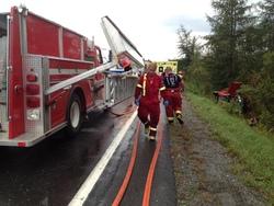 Un capotage sur la Route 108 à Stornoway fait 2 blessés.